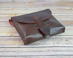 Archers Equipment - Large Brown Leather Pouch Bag With Leather Fastening