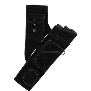 Archers Equipment - Quiver Black Suede Leather Tube Deluxe