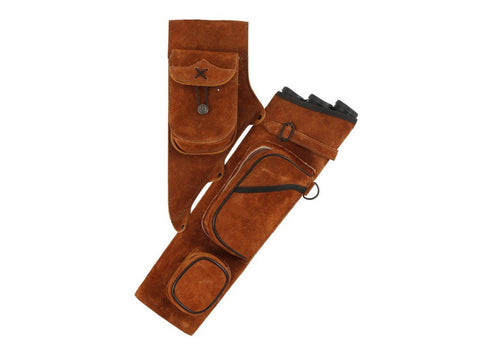 Archers Equipment - Quiver Honey Brown Suede Leather Tube Deluxe
