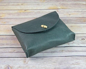 Archers Equipment - Soft Leather Pouch Bag With Wood Toggle Clasp
