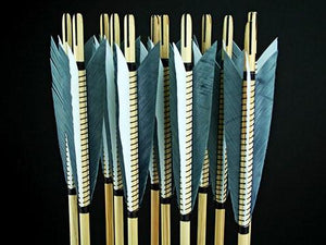 Arrows And Arrow Making,Bows - Medieval Wood Arrows 25-30lb Grey White
