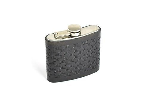 Black Hip Flask And Leather Holder