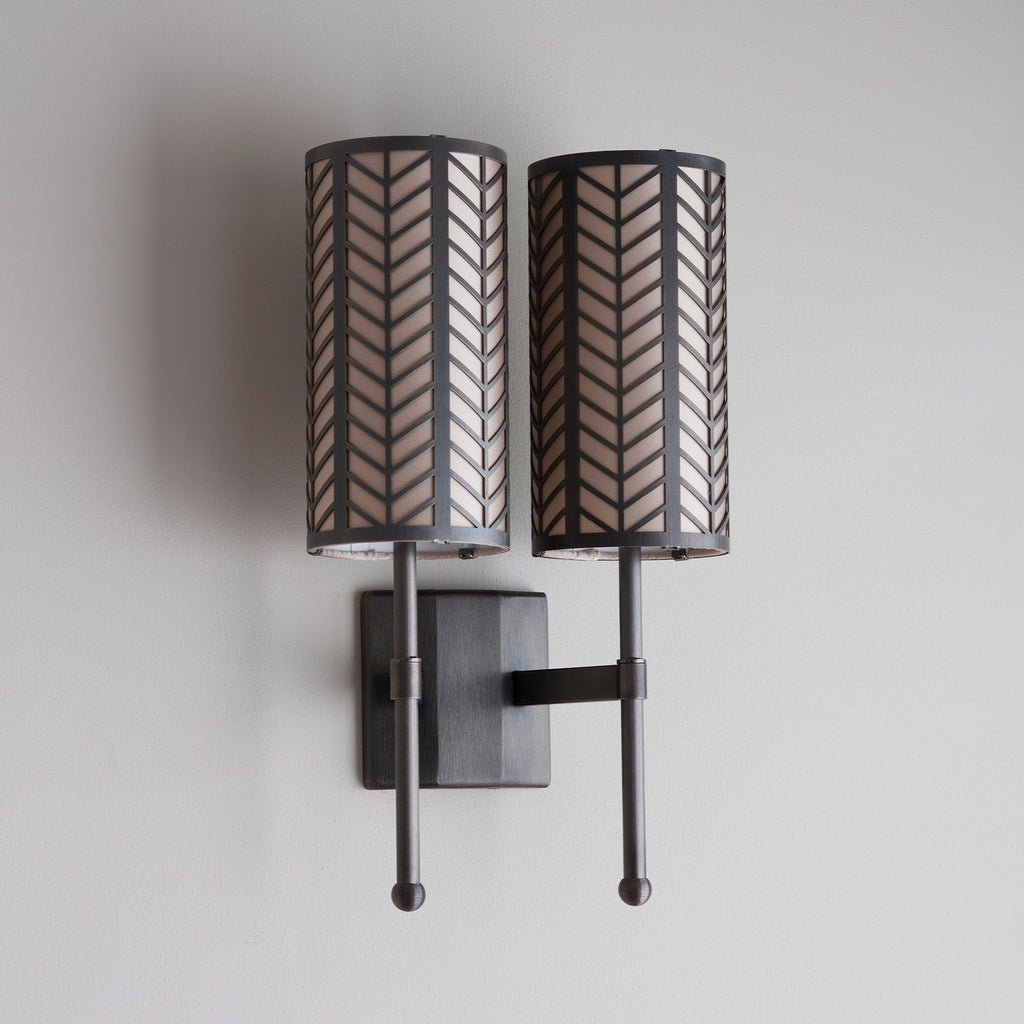 Stem Double Wall Light with Lattice