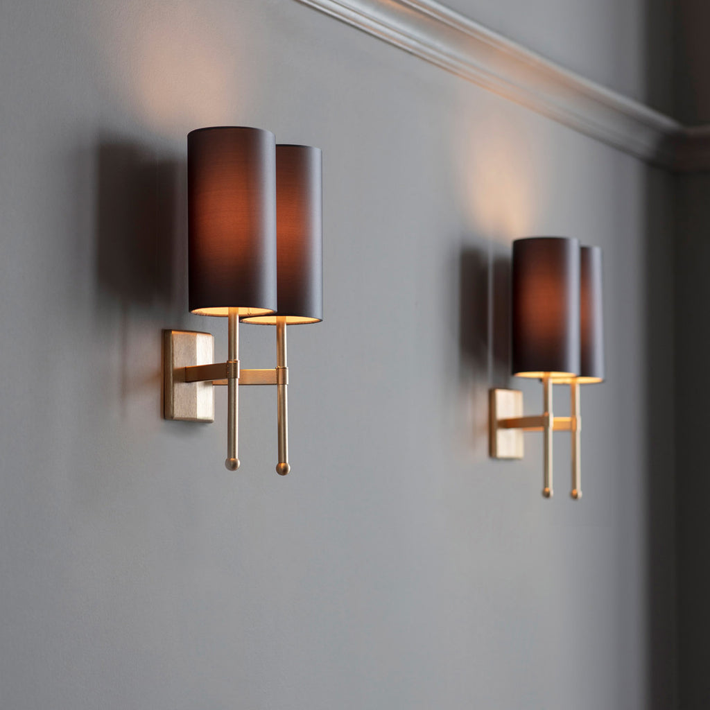 Stem Double Wall Light with Silk
