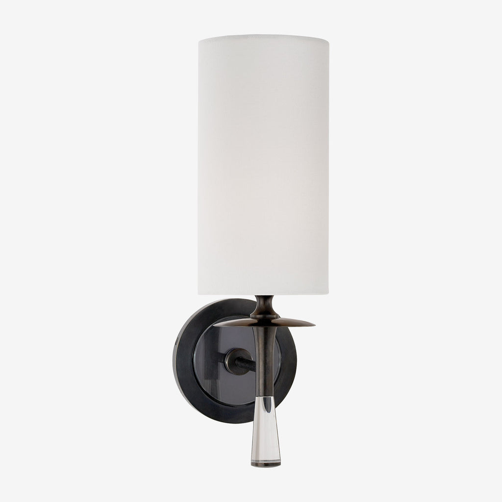 Drunmore Crystal Single Sconce with Linen Shade