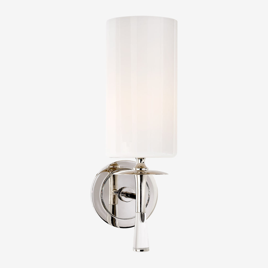 Drunmore Crystal Single Sconce with White Glass Shade