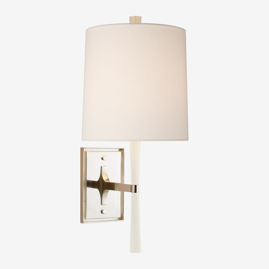 Refined Rib Sconce with Linen Shade