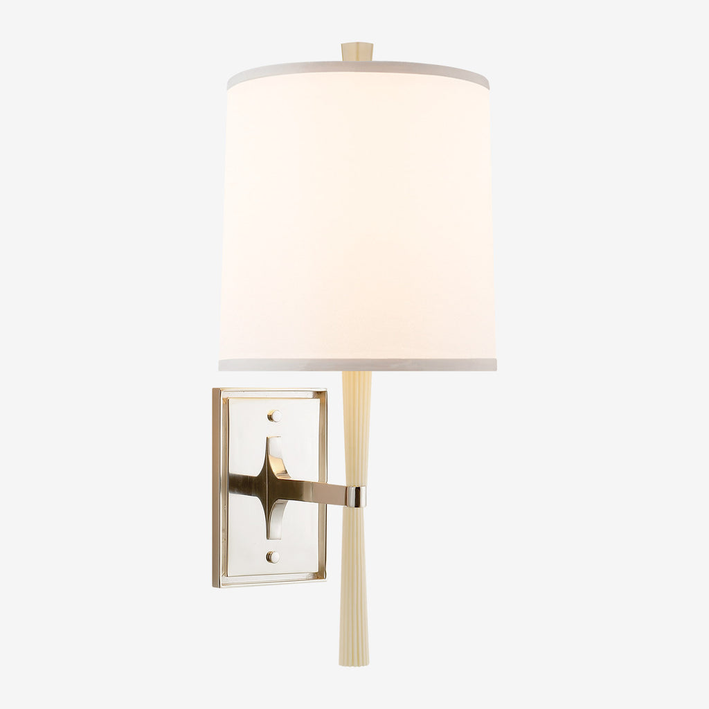 Refined Rib Sconce with Silk Shade