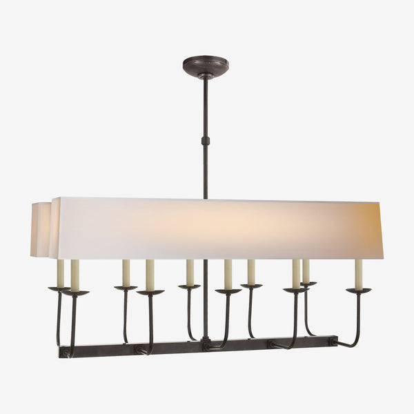 Linear Branched Chandelier with Rectangular Shade
