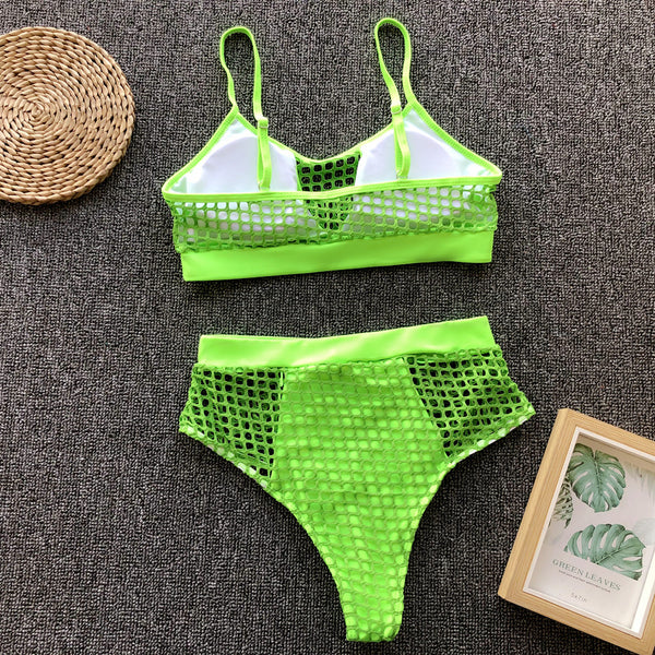 Mesh High-Waist 2 Piece Bikini Set - Juicy Beach Wear