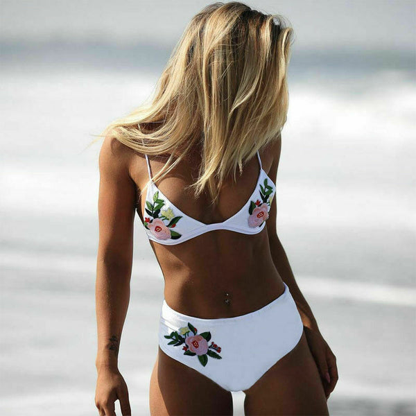 Floral Emblem High Waisted 2 Piece Bikini Set - Juicy Beach Wear