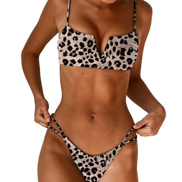 Thin Strapped V-Chest 2 Piece Bikini Set (Various Patterns) - Juicy Beach Wear