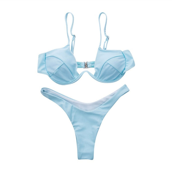V-Chest 2 Piece Bikini Set (Various Colors) - Juicy Beach Wear