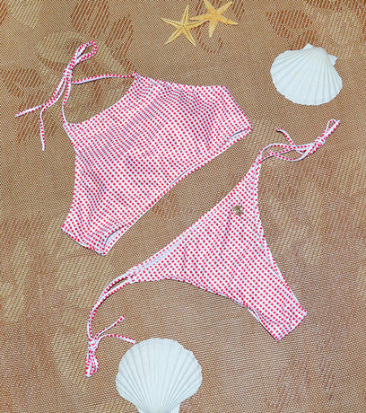 Square Spot Halterneck 2 Piece Bikini Set (S-L) - Juicy Beach Wear