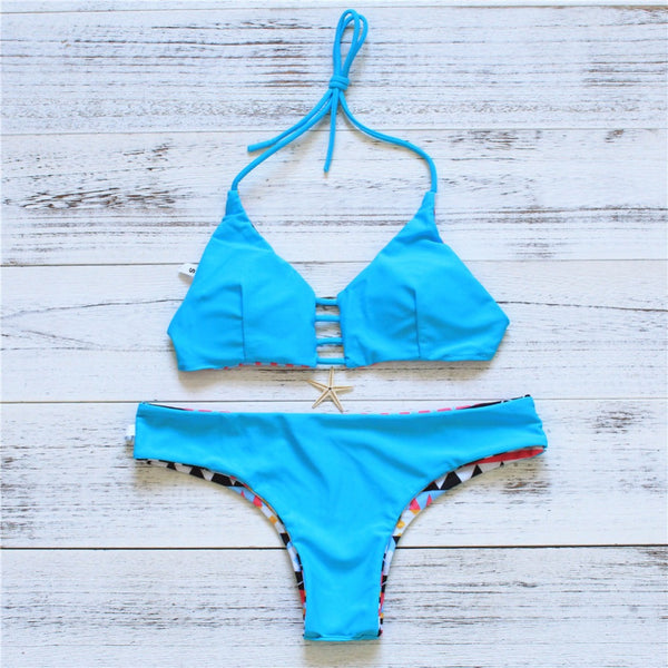 Geometric Patterned 2 Piece Bikini Set - Juicy Beach Wear