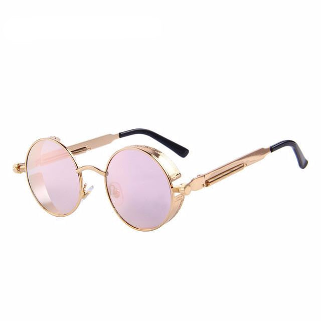 Vintage Steampunk Style Sunglasses (Gold/Pink) - Juicy Beach Wear