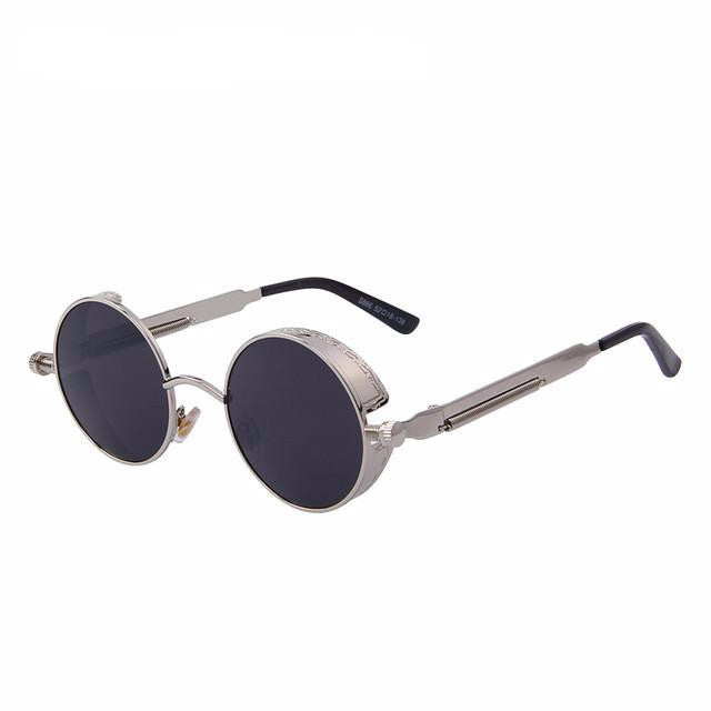 Vintage Steampunk Style Sunglasses (Silver/Black) - Juicy Beach Wear
