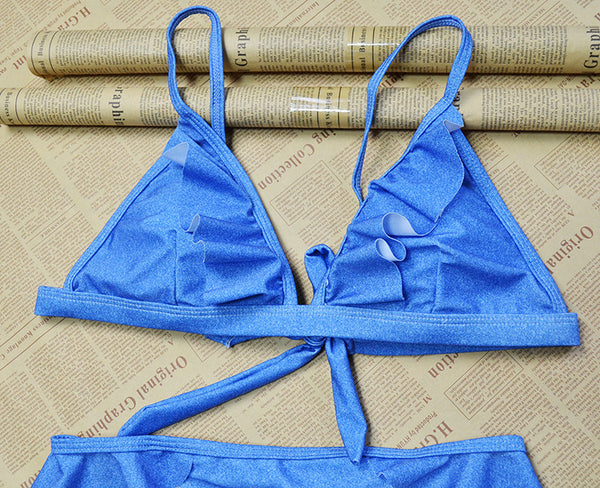 Washed Denim Look 2 Piece Bikini Set (S-XL) - Juicy Beach Wear