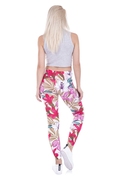 Floral Pattern Full Length Leggings - Juicy Beach Wear