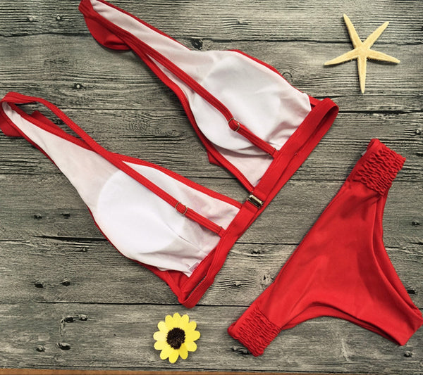 Red Frill 2 Piece Bikini Set - Juicy Beach Wear
