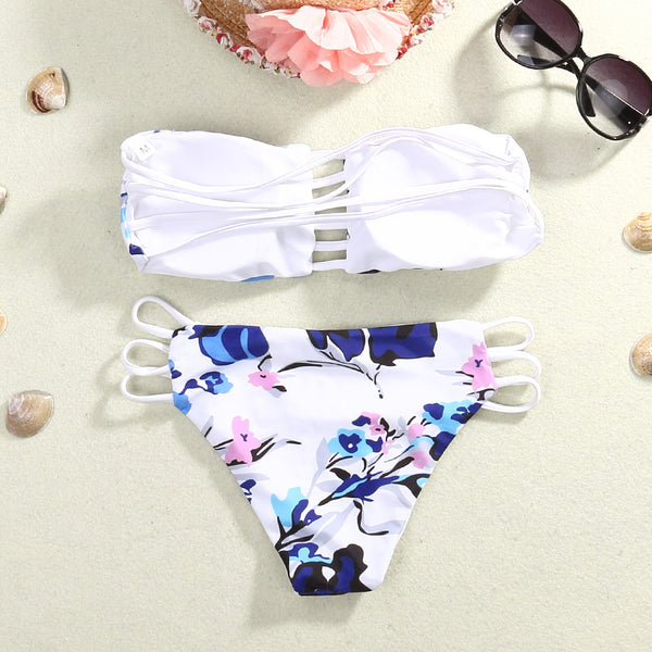 Floral Pattern 2 Piece Bikini Set - Juicy Beach Wear