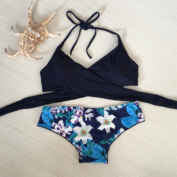 Bandage Top with Floral Bottom 2 Piece Bikini Set - Juicy Beach Wear