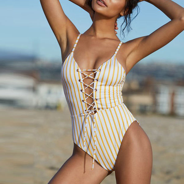 Vintage Stripes 1 Piece Bathing Suit - Juicy Beach Wear