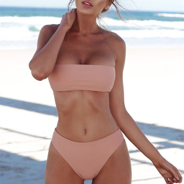 Strapless Tube 2 Piece Bikini Set - Juicy Beach Wear