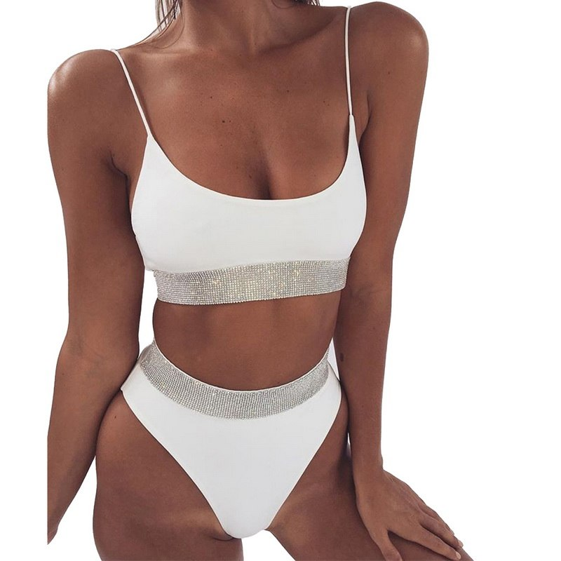 Athletic Sequins Mid-waist 2 Piece Bikini Set - Juicy Beach Wear