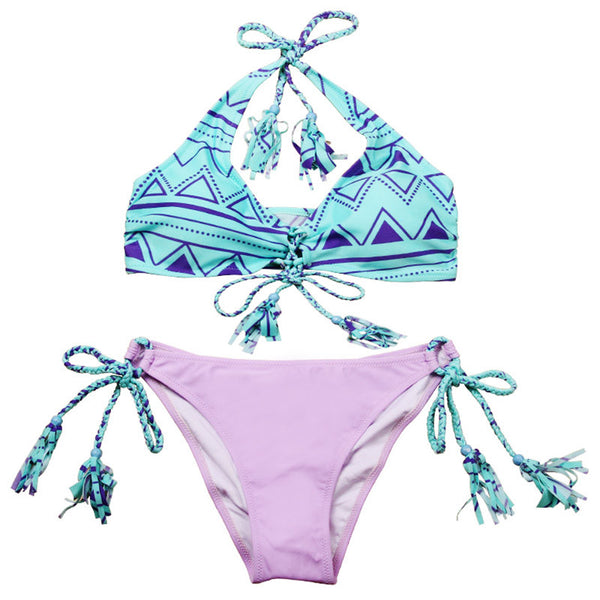 Cute Tie Up 2 Piece Pattern Bikini Set (S-L) - Juicy Beach Wear