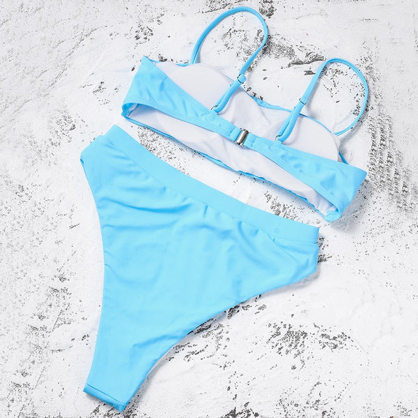 High Waist Thin Strap Bikini Set - Juicy Beach Wear