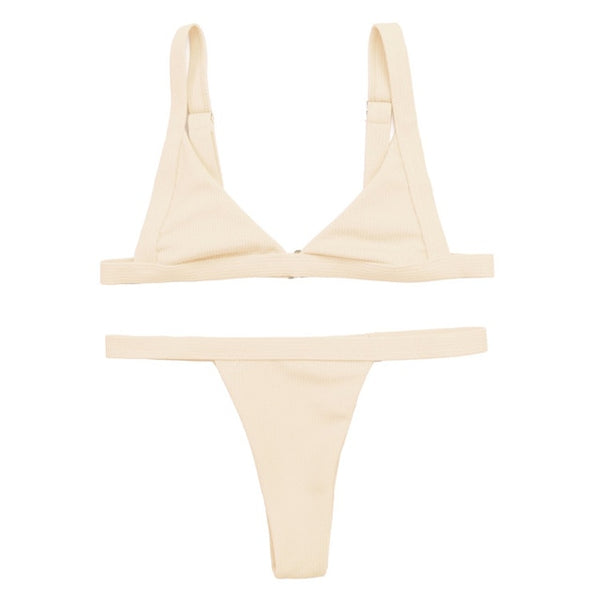 Simple Corduroy Effect 2 Piece Bikini Set (Various Colors) - Juicy Beach Wear