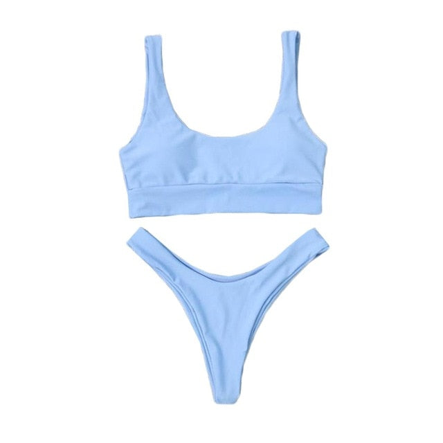 Cute Solid Color Pushup 2 Piece Bikini (S-XXL) - Juicy Beach Wear