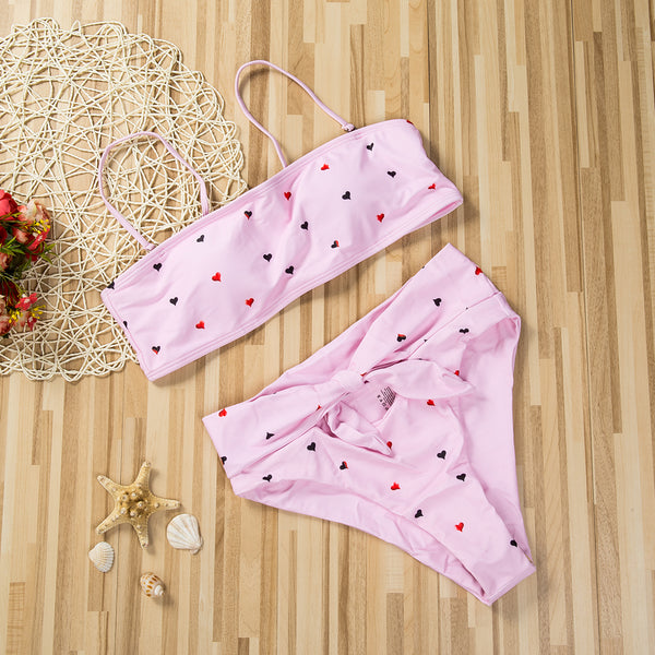 Cute Heart Print 2 Piece Bikini Set (Various Colors) - Juicy Beach Wear