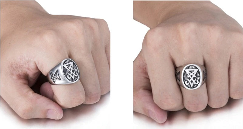 Men's Stainless steel Ring Sigil of Lucifer Seal
