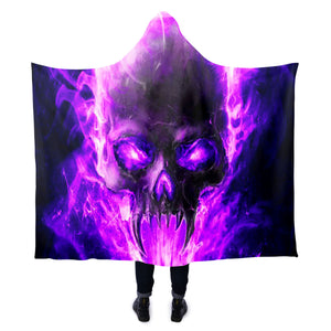 Violet Skull Hooded Blanket