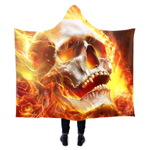 Skull Fire Hooded Blanket