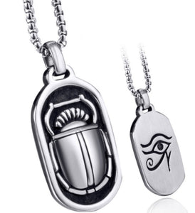 Pendant Necklace Stainless Steel Both Sided Egyptian Scarab Eye of Horus Symbol