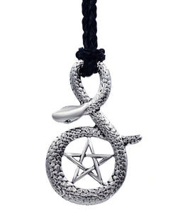 Pendant Necklace Stainless Steel Snake Cobra Pentagram Star