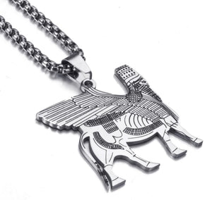 Pendant Necklace Stainless Steel Assyrian lamassu A Edu Human-headed winged bull