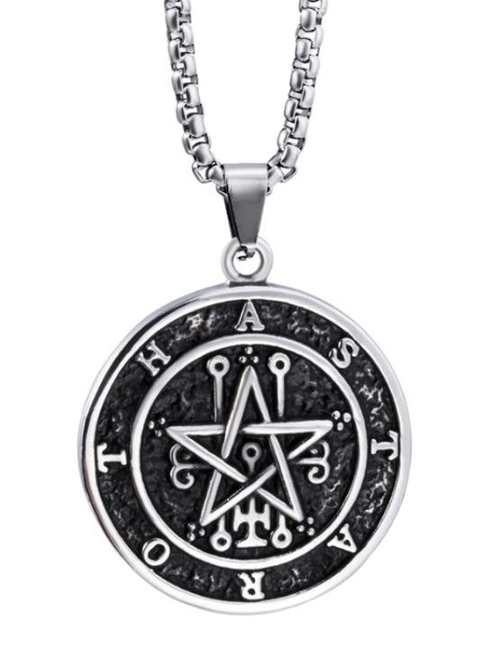 Pendant Necklace Stainless Steel Both Sided Seal of Lilith Sigil of Lucifer