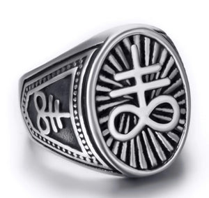 Ring Stainless Steel Satanic Cross Devil Lucifer Symbol