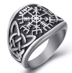 Ring Stainless Steel Viking Compass Text Symbol