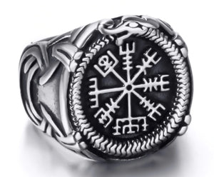 Ring Stainless Steel Viking Compass Norse Scandinavian Text Symbol