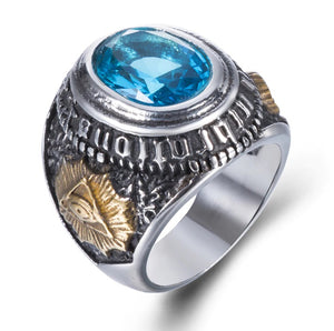 Ring Stainless Steel Blue Stone Goat The All-seeing-eye
