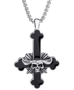 Pendant Necklace Stainless Steel The devil's Cross - 2 Colors