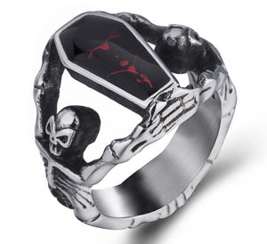 Ring Stainless Steel Skeleton with Red Enamel Coffin