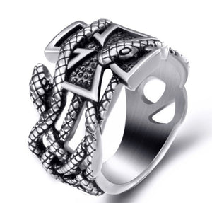 Ring Stainless Steel Iron Cross Snake