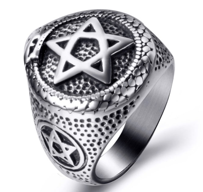 Ring Stainless Steel Snake Around Pentagram