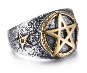 Ring Stainless Steel Gold Pentagram
